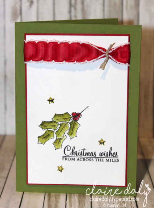 Stampin Up quick and easy DIY Christmas card using Holly Berry Happiness from the 2016 Holiday Catalogue. Card by Claire Daly, Stampin Up! Demonstrator Melbourne Australia at www.clairedaly.typepad.com