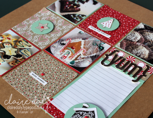 Stampin Up scrapbooking layout using Candy Cane Lane DSP from 2016 Holiday Catalogue. 12x12 Layout by Claire Daly Stampin' Up! Demonstrator Melbourne Australia