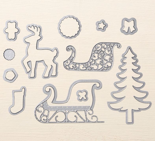 Santas Sleigh Thinlits from Stampin' Up! 2016 Holiday Catalogue. Available in my online store at www.clairedaly.typepad.com
