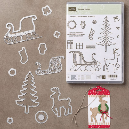 Santas Sleigh bundle from Stampin' Up! 2016 Holiday Catalogue. Available in my online store at www.clairedaly.typepad.com
