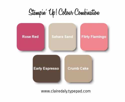 Stampin Up color combination Rose Red Early Espresso Flirty Flamingo. Click through for card sample/