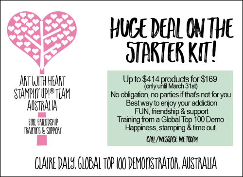 Great deal on Stampin Up starter kit up to March 31st 2017. Join our fun and friendly large Australia wide team and community of crafters.