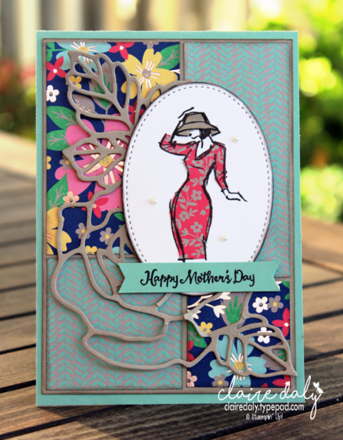 Stampin Up 2017 Mothers day card using Beatiful You stamp set, rose garden thinlits, stitched shaped framelits and paper piecing technique. Card by Claire Daly, Stampin' Up! Demonstrator Melbourne Australia.