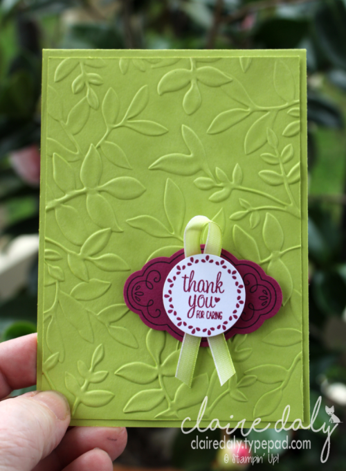 Stampin Up Layered Leaves Embossing folder and Label Me Pretty. 2017 Annual Catalogue. Claire Daly Stampin Up Demonstrator Melbourne Australia.