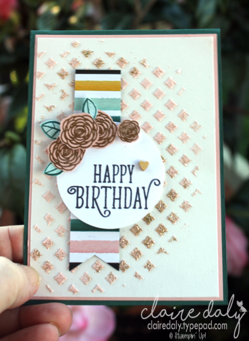 Stampin Up Happy Birthday Gorgeous and embossing paste. 2017 Annual Catalogue. Card by Claire Daly, Stampin' Up! Demonstrator Melbourne Australia