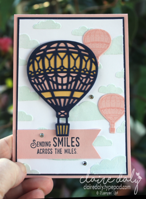 Stampin Up Lift Me Up stamp set, Up and Away thinklints and embossing paste. 2017 Annual Catalogue. Card by Claire Daly, Stampin' Up! Demonstrator Melbourne Australia