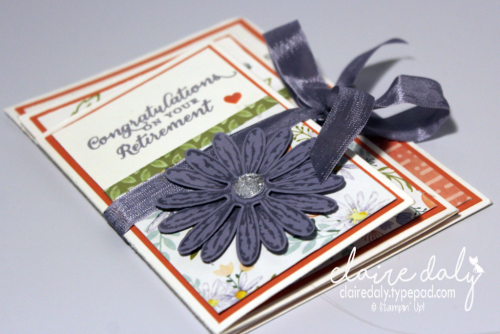 Four fold card using Stampin' Up! Delightful Daisy Suite and Wild About Flowers stamp set. Design cased from Lyssa Griffin. Claire Daly, Stampin' Up! Demonstrator Melbourne Australia.