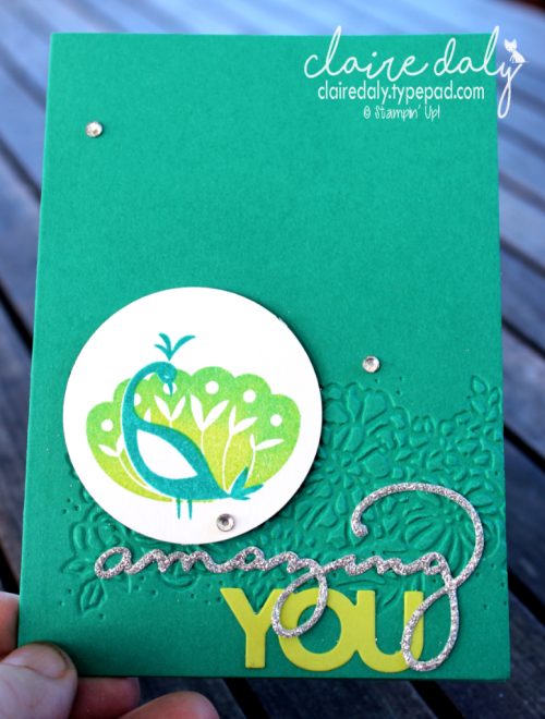 Stampin' Up! Beautiful Peacock  card by Claire Daly Stampin Up! Demonstrator Melbourne Australia. #peacockstamp #occasions2018 #stampinupcards2018 #clairedaly #stampinupaustralia