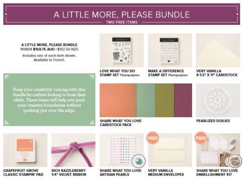 Stampin Up Share What You Love Exclusive Bundles with free products available May 1st to 31st. Get a colour swatch and free tutorials when you buy from me in Australia. #stampinupaustralia. #stampinup2018 #stampinupspecials #stampinupfreeproducts #clairedaly