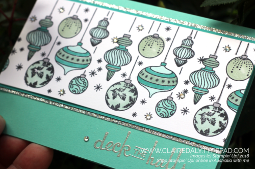 2018 Stampin Up Holiday Catalogue Beautiful Baubles coloured with Stampin Blends. Claire Daly, Stampin' Up! Demonstrator Melbourne Australia.