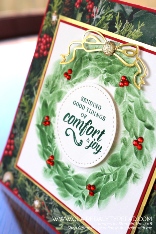 Stampin Up 2018 Christmas card using Seasonal Wreath dynamic embossing folder, and All is Bright DSP. Claire Daly, Stampin' Up! Demonstrator Melbourne Australia.