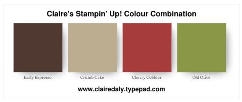 Stampin Up, 2018, color, colour, combination, Erly Espresso, Crumb Cake, Old Olive, Cherry Cobbler