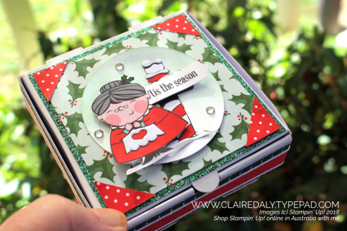Stampin Up mini pizza box. Decorated with 2018 Holiday Catalogue products, Santas Workshop DSP, Itty Bitty Greetings . Claire Daly, Stampin Up Demonstrator Melbourne Australia