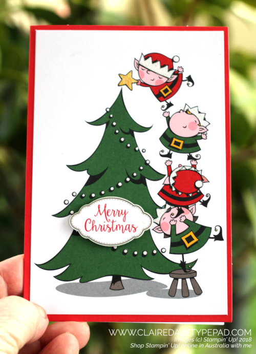 Stampin' Up Santa's Workshop Memories and More Christmas card, 208 Holiday Catalogue, Claire Daly, Stampin' Up! Demonstrator Melbourne Australia.