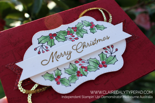 Stampin Up Blended Seasons 2018 Christmas Card by Claire Daly, Stampin' Up! Demo Melbourne Australia.