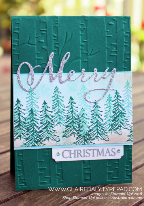 2018 Christmas Card using Stampin Up Timeless Tidings stamo set and Merry Christmas to All from 2018 Holiday Catalogue and Woodland embossing folder from 2018 annual catalogue. Claire Daly, Stampin' Up! Demonstrator, Melbourne Australia.