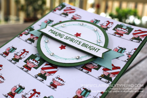 Stampin Up, Making Spirits Bright. Santa's Workshop DSP, Garden Green, Pool Party. colour, color, 2018, Holiday Catalogue, Claire Daly, Stampin Up Demonstrator, Melbourne, Australia.