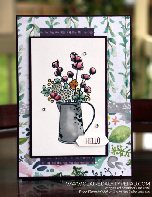 Stampin Up Country Home stamp set, Frosted Floral DSP, from 2018 Holiday Catalogue. Card by Claire Daly Stampin Up Demonstrator Melbourne Australia