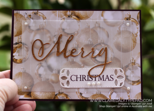 Stampin Up Merry Christmas to all Bundle, All is Bright DSP, 2018 Holiday Catalogue. Christmas card by Claire Daly, Stampin' Up! Demonstrator Melbourne Australia.