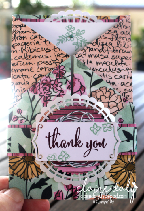 Stampin Up fancy fold 2018 Share What You Love suite card by Claire Daly Stampin Up Demonstrator Melbourne Australia.