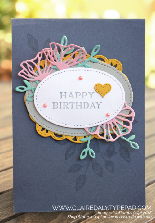 Stampin Up Stitched Labels, Petals and More and Eclectic Layers thinlits 2018 Annual Catalogue card. Claire Daly, Stampin' Up! Demonstrator Melbourne Australia.