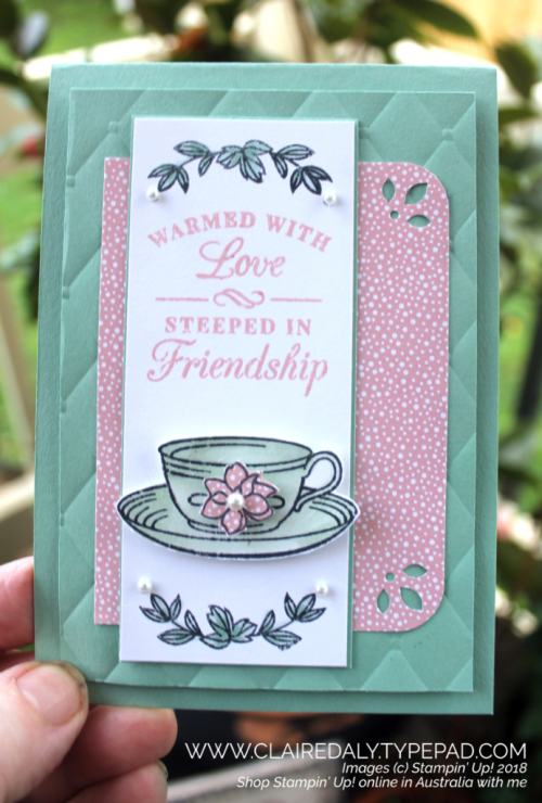 Stampin Up, 2018 Annual Catalogue, Time for Tea, Tufted Embossing Folder, Claire Daly Stampin Up Demonstrator Melbourne Australia