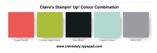 Stampin Up 2018 colour, colour, combination, Christmas, Holiday, poppy parade, granny apple green, coastal cabana, Claire Daly Melbourne Australia