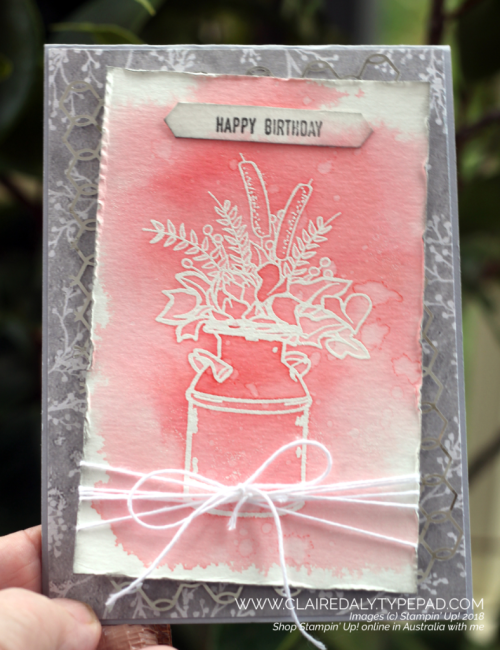 Flirty Flamingo Country Home watercolor wash card  by Claire Daly Stampin Up Demonstrator Melbourne Australia. 2018 Holiday Catalogue, Christmas.