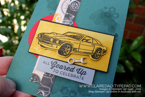 Stampin Up All Geared Up male card from Stampin Up 2019 Occasions Catalogue. Card by Claire Daly, Stampin Up Demonstrator Melbourne Australia.