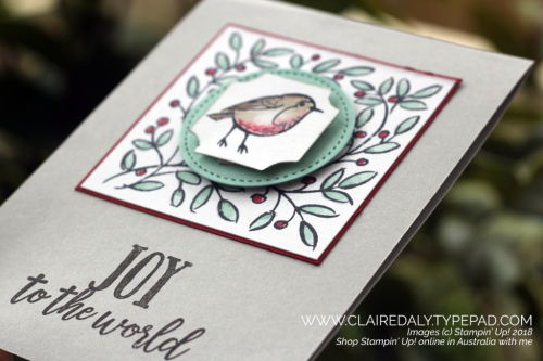Stampin Up, Feathers and Frost stamp set, darling label punch box, stitched shapes framelits. 2018, Christmas Card, Holiday Catalogue, Claire Daly, Stampin Up Demonstrator, Melbourne, Victoria, Australia