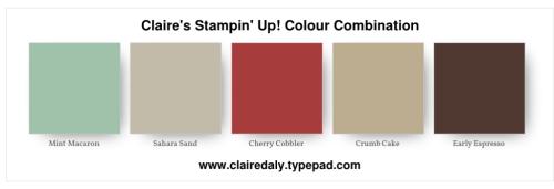 Stampin Up, colour, color, combination, 2018. mint macaron, cherry cobbler, sahara sand, crumb cake, early espresso, claire daly, melbourne, auatralia