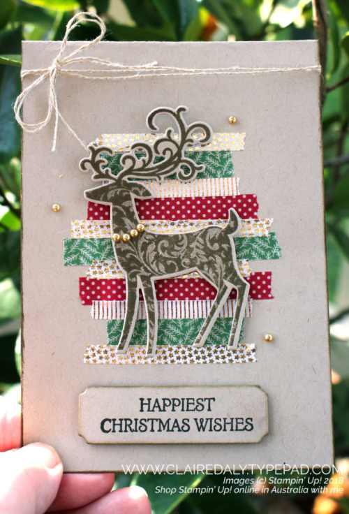 Stampin Up Dashing Deer washi tape 2018 Christmas card by Claire Daly, Stamin Up Demonstrator Melbourne Australia