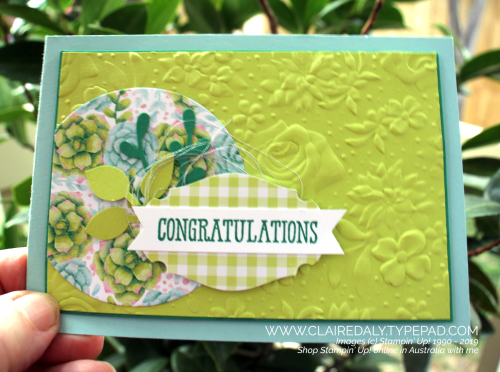 Stampin' Up! Country Floral embossing flder and Painted Seasons Saleabration 2019 card. By Claire Daly, Stampin' Up! Demonstratotor, Melbourne Australia.