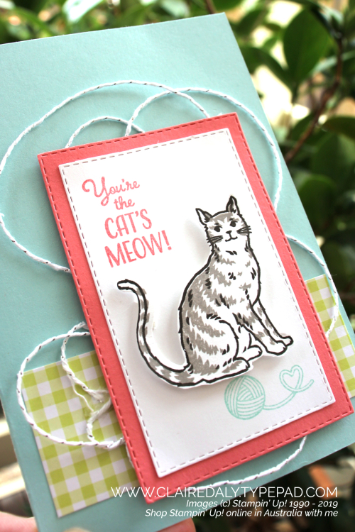 Stampin Up Nine Lives cat birthday card from Occasions Catalogue 2019. Card by Claire Daly, Stampin' Up! Demonstrator Melbourne, Australia