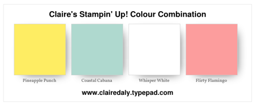 Stampin Up Color / Colour Combination. Pineapple Punch, Coastal Cabana, Flirty Flamingo.