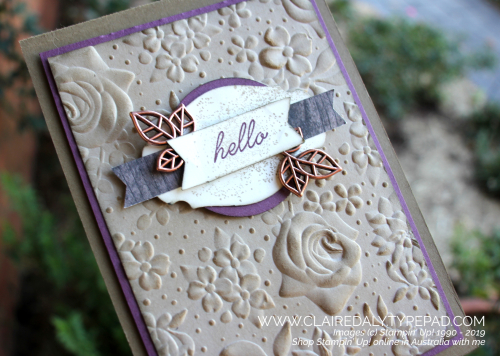 Stampin Up Country Floral embossing folder and Story Label Punch. Card by Claire Daly, Stampin' Up! Demonstrator Melbourne Australia.