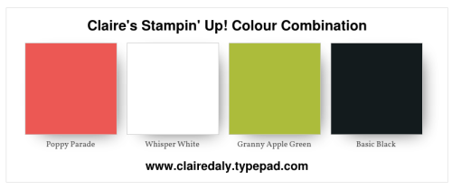 Stampin Up color / colour combination Poppy Parade, Granny Apple Green, Whisper White, Basic Black. Click for card sample.