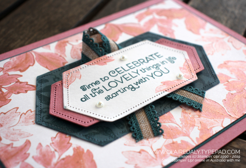Stampin Up Everything is Rosy 2019 card including stampin with rose gold shimmer paint. Claire Daly, Stampin Up Demonstrator Melbourne Australia