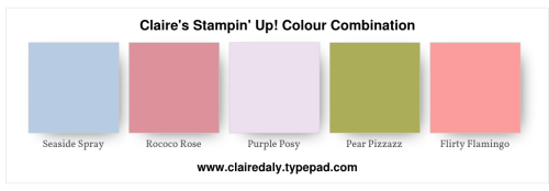 Stampin Up 2019 color / colour combination using Seaside Spray, Rococo Rose, Purple Posy, {ear Pizazz and Flirty Flamingo. Click through for project using these colours.
