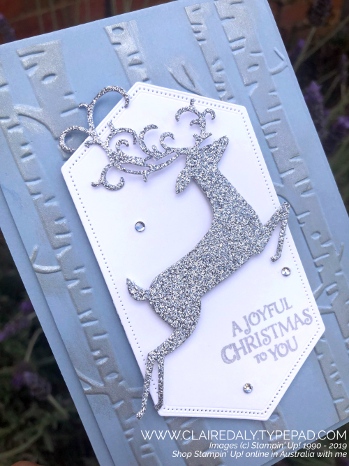 Step by step instructions on blog, Detailed Deer dies, woodland embossing folder 2019 Christmas card by Claire Daly Stampin Up Demonstrator Melbourne Australia.