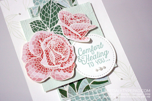 Stampin Up 2019 Annual Catalogue Mosaic Mood DSP and Flourishing Phrases. Sympathy card by Claire Daly, Stampin Up Demonstrator Melbourne Australia.