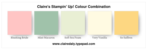 Claire's Stampin' Up! Colour Combination: Blushing Bride, Mint Macaron, Soft Sea Foam, So Saffron