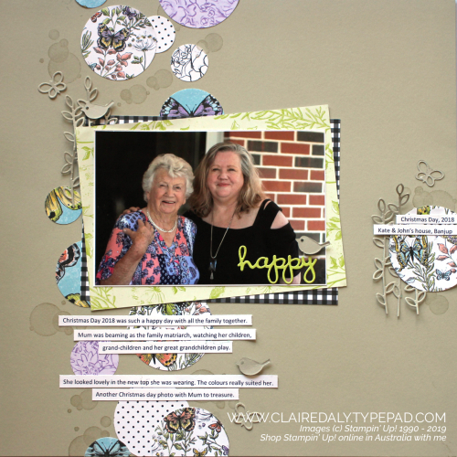 Stampin' Up! Scrapbook page using Botanical Butterfly DSP, Well Written Framelits and Beauty Abounds stamp set. Page by Claire Daly, Stampin' Up! Demonstrator Melbourne Australia.