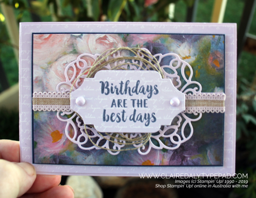 Stampin Up Purple Posy birthday card using Detailed Bands Dies and Perennial Essence DSP. 2019 Annual Catalogue card by Claire Daly, Stampin Up Demonstrator Melbourne Australia.