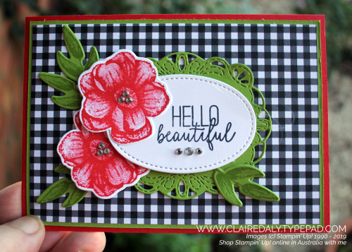 Stampin Up Painted Seasons bundle card using stitched label framelits and stitched shapes framelits. Poppy Parade and Granny Apple Green. Card by Claire Daly, Stampin Up Demonstrator Melbourne Australia.