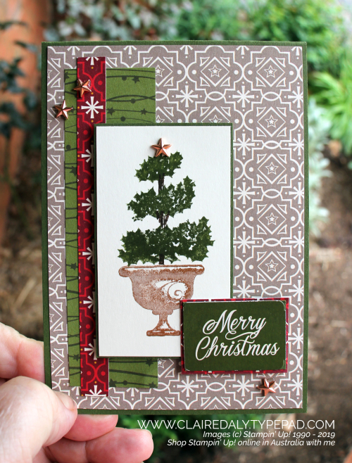 Stampin' Up! Beauty and Joy stamp set with Night Before Christmas DSP. 2019 Christmas card by Claire Daly, Stampin' Up! Demonstrator Melbourne Australia.