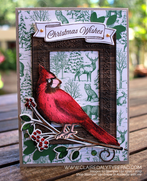 Stampin Up 2019 Christmas card using Toile Christmas stamp set and Woven Heirloom Frame dies and embossing folders. Card by Claire Daly, demonstrator Melbourne Australia