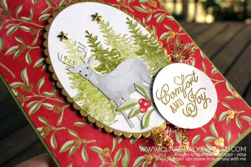 Christmas card using Stampin Up Most Wonderful Time product medley from 2019 Holiday Catalogue. By Claire Daly, Stampin' Up! Demonstrator, Melbourne Australia