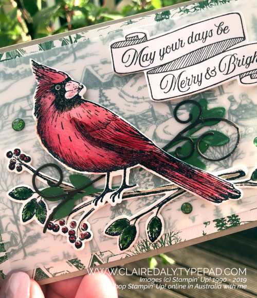 Stampin Up 2019 Toile Tidings Christmas Card. Holiday Catalogue. By Claire Daly, Stampin' Up! Demonstrator Melbourne Australia.