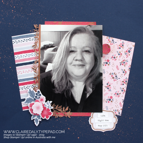 Stampin Up Everything Rosy 12x12 Scrapbook Layout by Claire Daly Stampin Up Demonstrator Melbourne Australia